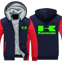 ropa kawasaki al por mayor-Invierno Kawasaki Moto Logo Motociclismo Racing Hombres mujeres Sudaderas con capucha de Fleet cálidas ropa de otoño sudaderas Chaqueta con cremallera sudadera con capucha polar tamaño EE. UU. UE