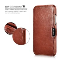 Wholesale opening iphone case - For iPhone X Icarercase Genuine Vintage Leather Side Open Slim Case with Magnetic Closure For iPhone 8 7 6s plus Reatil package