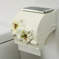 мобильные телефоны оптовых-Europe Lilies Bathroom Paper Phone Holder with Shelf Bathroom Mobile Phones Towel Rack Toilet Paper Roll Holder Tissue Boxes