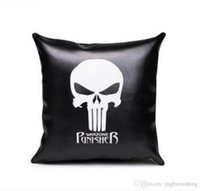 ingrosso pezzi decorativi casa-One Piece Skull Cuscino in pelle nera Punk Rocker Skull Pillow Cover per Divano Cuscino Decorativo per la casa PU Cuscino Cojines