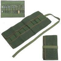 зеленые инструменты для ремонта оптовых-Army Green Garden Bonsai Storage Package Roll Bag Garden Repair Tools Scissors Pliers Canvas Storage Bag Tool Set Case