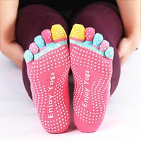 Wholesale non slip socks resale online - Cute Pilates Toe Non Slip Grip Socks Fitness Women Antiskid Professional Soft Cotton Five Fingers Socks Silicone Massage Socks Hot SALE
