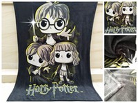 Wholesale harry potter fabric online - 2018 NEW Hot Selling Black Flannel Harry Potter Cartoon blanket Big Size cm bed sheet for Girls child Office Baby Gift