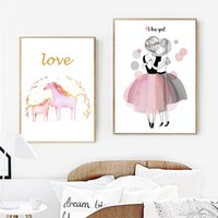 ingrosso dipinti per bambini-Acquerello Pink Girl Unicorn Wall Art Canvas Paintings Nordic Manifesti e stampe Cartoon Wall Pictures Baby Kids Room Ragazza Decor