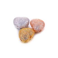 metal pavé cuentas de cristal al por mayor-Venta al por mayor Diy Jewelry Fashion Findings Components Micro Pave CZ Rhinestone Spacer Beads Charms Luxury Cubic Zirconia Crystal Heart Bead Fits