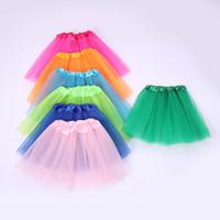 sıcak dans kıyafetleri toptan satış-Sıcak Satış Kızlar 13 Renkler Şeker Renk Çocuklar Tutuş Etek Dans Elbiseler Yumuşak Tutu Elbise 3 kat Çocuklar Giysi Etek Prenses Etekler T2I362
