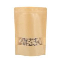 ventana kraft bolsas marrones al por mayor-200 Unids bolsas de empaque Ziplock que se pueden volver a sellar bolsas a prueba de humedad de la comida bolsas de la ventana bolsa de Doypack de papel Kraft marrón para la galleta del caramelo del bocado que cuece al horno