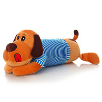 ingrosso bambino gioca animali selvatici-2018 New Cute Dog Plush Toy Doll Large Striped Stud Dog Bed Pillow Oversize Long Pillow Regalo di compleanno creativo