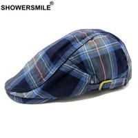 chapeau de béret homme bleu achat en gros de-SHOWERSMILE Bleu Plaid Berets Hommes Coton Classique Duckbill Chapeau Femmes Casual Réglable Britannique Été Automne Ivy Plat Casquette Nouveau
