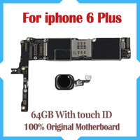 Wholesale Motherboard Testing - For iPhone 6 Plus 64GB 5.5inch Factory Unlocked Mainboard With Touch ID Original IOS Update Support Motherboard 100% Good Tested
