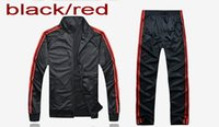 Wholesale Woolen Suits For Men - Wholesale track suit set classic sports brand Striped sportswear set jacket+ pants Embroidered logos for man and woman