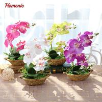 ingrosso vasi da fiori farfalla-Orchidea artificiale della farfalla Piante in vaso Fiore decorativo di seta in vasi Phalaenopsis orchidea bonsai per la decorazione del balcone di casa
