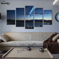 anime bilderrahmen großhandel-Cartoon Spray Malerei 5 Panel Leinwand Kunst Japan Your Name Anime Film Moderne Poster Print Gerahmte Wandbild Dekoration Y18102209