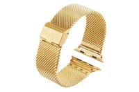 полоса для часов из янтаря оптовых-Черное золото сетка из нержавеющей стали браслет для Apple Watch 38 мм 42 мм ремешок для iWatch 38 мм 42 мм 40/44 мм миланский петля с адаптером