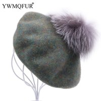 берет шапку оптовых-Solid Vintage Wool Beret Women Caps Autumn Winter Casual Girl Gift Hats With  Fur Ball Female Fashion Lady Cap New Arrival
