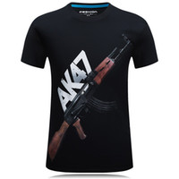 camisas de poliéster venda por atacado-Moda Top Tees Dos Homens 3D AK 47 Impresso Camiseta de Manga Curta Poliéster O-pescoço T-Shirt Do Punk Dos Homens T Camisa S-6XL