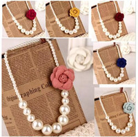 Wholesale mix fashion brooches resale online - 2018 Kids girls Pearls Necklace D flower brooch Baby girl princess jewelry babies fashion accessories
