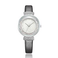 мужские наручные часы оптовых-2018 Women Rhinestone Watches Lady Rotation Dress Watch  Real Leather Band Big Dial Bracelet Wristwatch Crystal Watch