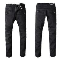 jeans furos joelhos venda por atacado-Balmain Jeans Mens Slim Fit Ripped Jeans Men Hi-Street Mens Distressed Denim Joggers Buracos joelho Lavados Destruído 22 Jeans cor estilo