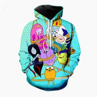 sudaderas gráficas 3d al por mayor-Nueva moda Casual Harajuku Hoodies Unisex 3d Print Cartoon Adventure Time Hoodies Jerseys Sudaderas gráficas A74