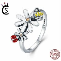 Wholesale garden engagement - Genuine 100% 925 Sterling Silver Bee and Ladybug in Flower Garden Finger Rings for Women Sterling Silver Jewelry