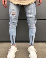 ausgefranstes denim großhandel-Röhrenjeans der Art- und Weisemänner zerrissene dünne Sitzausdehnungs-Denim-Bedrängnis ausgefranste Jeans-Jungen-Muster-Bleistift-Hosen