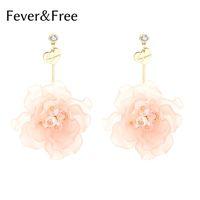 pendientes de moda al por mayor-FeverFree New Flower Sweat Woman Earrings Trending Pink Handmade Drop Pendientes Girls Wedding Fashion Jewelry Dropship