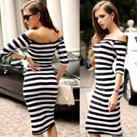 Summer Sex Women Fashion New Bodycon Elastic Dress Women Stripes Half Sleeve  Knee Length Casual Off the Shoulder Pencil Dresses Black Pink 1b9686019f7f