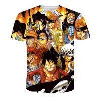 tek parça karakter toptan satış-Yeni Serin Anime t shirt One Piece Karakterler Baskılar Erkekler Kadınlar Hipster Maymun D. Luffy 3D t gömlek Harajuku Tişörtlerin NJ008