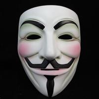 ingrosso v per il filmato-Bianco V Maschera Maschera Mascherata Eyeliner Halloween Maschere a pieno faccia Party Puntelli Vendetta Anonimo Movie Guy All'ingrosso spedizione gratuita YFA253