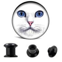 Wholesale gauge black tunnel plugs resale online - Ear Gauge Plugs White Cat Face Acrylic Screw Fit Flesh Tunnel Plug Eyelet Body Piercing Jewelry AW40303