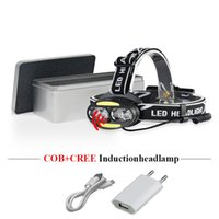 usb ir sensor groihandel-Dual-Lichtquelle USB-Scheinwerfer XML T6 IR Sensor COB Scheinwerfer 18650baery Lampe Stirnlampe Camping wasserdicht Linterna Kopf Licht