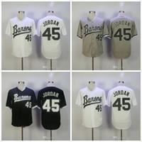 Wholesale michael movies - Michael #45 Birmingham Barons Movie Jerseys Retro Baseball Jersey Black White Grey Stiched
