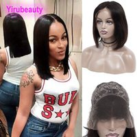 Wholesale silky straight lace wigs online - Peruvian Virgin Hair Lace Front Wigs Inch Silky Straight Dyeable Human Hair Bob Wig Remy Hair Natural Color