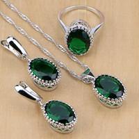 conjuntos de boda verde esmeralda al por mayor-cz set 925 Sterling Silver Green Creado en blanco esmeralda CZ Sistemas de la joyería para las mujeres Pendiente / colgante / collar / anillo de la boda