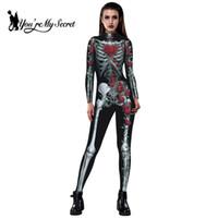 d1ac2d74b6ed  You re My Secret  2018 Halloween Moda Donna Body Skeleton Rose 3D Stampa  QMilch Tessuto Tute Partito Spaventoso Costumi