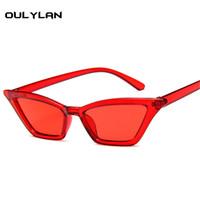óculos bonitos para mulheres venda por atacado-Oulylan Bonito Sexy Ladies Cat Eye Óculos De Sol Das Mulheres Designer de Marca Do Vintage Pequeno Óculos de Sol Feminino Retro Cateye Eyewear UV400