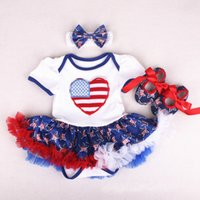 Wholesale grils sets - Pretty Baby Grils Tutu Dresses Rompers 3 Pcs Set with Rompers Headbands Shoes 0-2T American Independence Day Flags Red Blue Stars Dresses