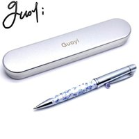 Wholesale blue white porcelain pens online - Guoyi Q08 Chinese blue and white porcelain copper Ballpoint pen Office School stationery Supplies Writing Metal gifts pen