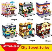 Wholesale Food Modelling - Architecture blocks Mini shop series warm color style food shop street Model Bricks Boys Educational Blocks Toys #657007-0012