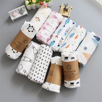 Wholesale knit cotton scarf resale online - Hot Newborn Cotton Blanket Infant Cartoon Aden Muslin Bath Towel Swaddle Toddler Scarf Lovely Baby Accessories qq gg
