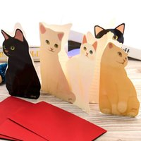 Wholesale Cute Christmas Stationery - 20pcs Cute Cat Folding Greeting Card Birthday 3d paper cards Christmas Cards Envelope Writing Paper Stationery Gifts