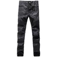 Wholesale cowboy trousers - Black Leather Biker Jeans Men Runway Biker Homme Jeanswear Skinny Slim Denim Trousers Cowboy Famous Brand Zipper Designer Men's Moto Pants