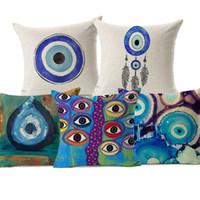 ingrosso cuscino beige-Fodera per cuscino Evil Eye Copricuscini per cuscini tribù per cultura mediterranea e asiatica Cuscino per cuscini decorativo in lino beige Nuovo