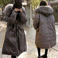 Wholesale Korean Down Coat Women - 2017 new large collar thickened cotton garment medium-long Korean version winter coat women's down cotton over knee padded jacket