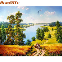 Wholesale autumn canvas wall art - RUOPOTY Autumn Landscape DIY Painting By Numbers Modern Home Wall Art Acrylic Paint On Canvas Hand Painted Oil Painting For Home