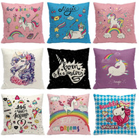 Wholesale sofa backrest - The new Cartoon watercolour Unicorn bear cotton hold office sofa backrest cushion cushion decorative pillow T4H0196
