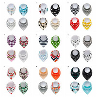 Wholesale baby triangle - Baby INS Fox Bibs Burp Cloths 28 Designs Bandana Infant Saliva Cloth INS Triangle Bibs Newborn Cartoon Baby Bibs Newborn Burp Cloths OOA2467