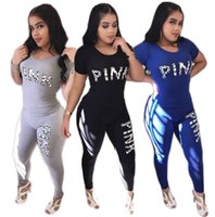 Wholesale wholesale women high waist shorts - 2 pieces set Love PINK Letter Women Tracksuits Short T-Shirt Pants Bodycon Sportswear Jogging Casual jumpsuit GGA149 6sets