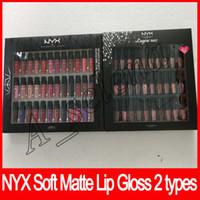 Wholesale Lingerie Soft - NYX SOFT MATTE LIP CREAM VAULT Lingerie Vault Lipstick Lip Gloss Matte No Fading Soft Velvet Lip Makeup kit 36 color 30 color free shipping